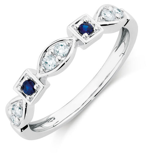 Ring with Sapphire & 1/6 Carat TW of Diamonds in 10kt White Gold
