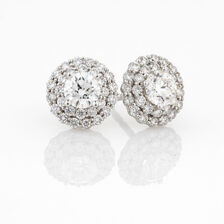 Online Exclusive - Halo Stud Earrings with 1 Carat TW of Diamonds in 14kt White Gold