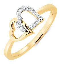 Heart Ring with 1/20 Carat TW of Diamonds in 10kt Yellow Gold