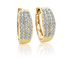 Huggie Earrings with 0.15 Carat TW of Diamonds in 10ct Yellow Gold