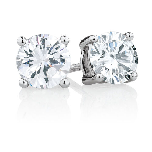 Stud Earrings with 2 Carat TW of Diamonds in 14kt White Gold