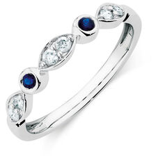 Ring with Sapphire & 0.15 Carat TW of Diamonds in 10ct White Gold