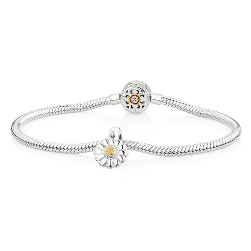 "19cm (7.5"") Charm Bracelet with Flower Charm in 10kt Yellow Gold & Sterling Silver"