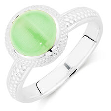 Online Exclusive - Light Green Cats Eye Stack Ring
