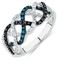 City Lights Ring with 1/4 Carat TW of White &  Enhanced Black Diamonds in Sterling Silver