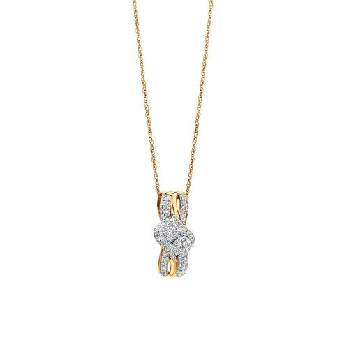 By My Side Cluster Pendant with 0.20 Carat TW of Diamonds in 10ct Yellow Gold