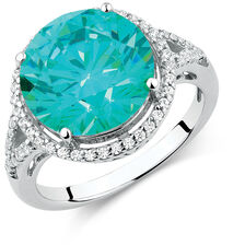 Ring with Mint Green & White Cubic Zirconias in Sterling Silver