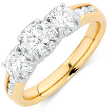 Engagement Ring with 1 1/2 Carat TW of Diamonds in 14kt Yellow & White Gold