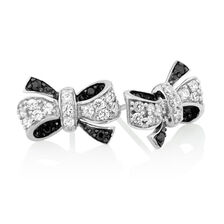 Stud Earrings with Black & White Cubic Zirconia in Sterling Silver