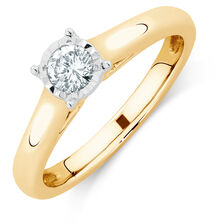 Solitaire Engagement Ring with a 1/4 Carat Diamond in 10kt Yellow & White Gold