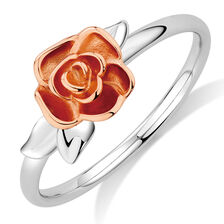 Rose Stack Ring in 10kt White & Rose Gold