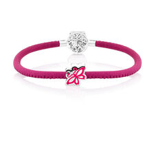 "19cm (7.5"") Charm Bracelet in Pink Leather & Sterling Silver"
