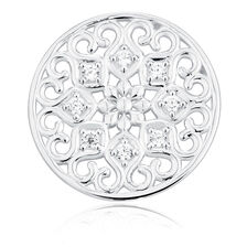 Cubic Zirconia & Sterling Silver Flower Coin Pendant Insert