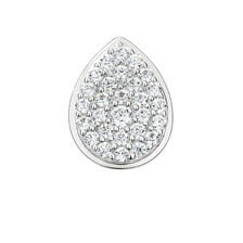 Mini Coin Pendant with Pave Set White Cubic Zirconia in Sterling Silver