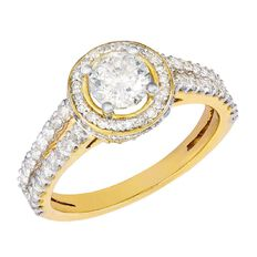 1.5 Carat of Diamonds 9ct Gold Diamond Fancy Halo Ring