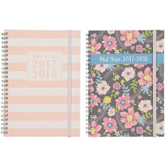 Diary Mid Year 2017-2018 A5 Week to View Hard Cover Spiral Assorted