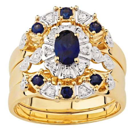 9ct Gold Synthetic Ceylon Sapphire Trio Ring