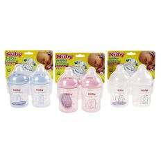 Nuby Wide Neck Bottle 270ml Assorted Colours 2 Pack