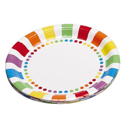 Unique Rainbow Birthday Party Plates 22cm 8 Pack