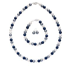 Glass Pearl Blue Earrings Necklace and Bracelet Set