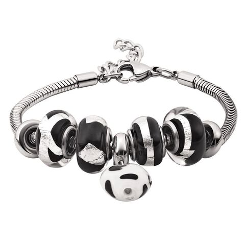 Stainless Steel 7 Charms Black Charm Bracelet