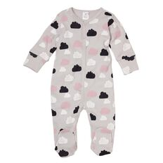 Hippo + Friends Baby Girl Printed Cotton Domed All-in-One