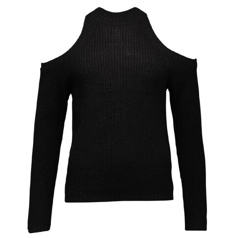 Garage High Neck Cold Shoulder Jumper