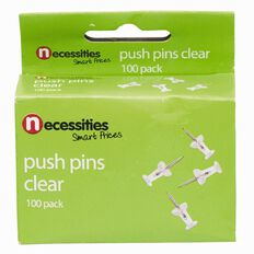 Necessities Brand Push Pins Clear 100 Pack