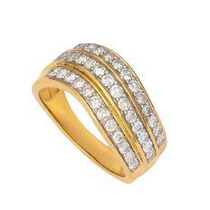1 Carat of Diamonds 9ct Gold Diamond Fancy Wave Channel Set Ring
