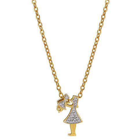 9ct Gold Diamond Mum and Child Pendant