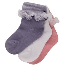 Hippo + Friends Girls' Frill Socks 3 Pack