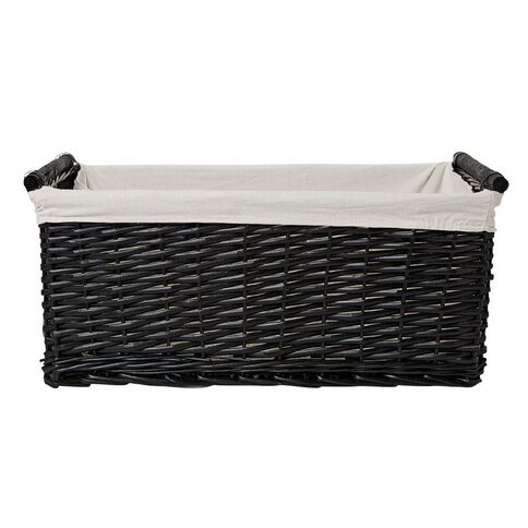 Living & Co Burma Wicker Rectangle Basket Large Black