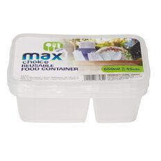 Max Choice Disposable Food Container Divided 650ml 4 Pack