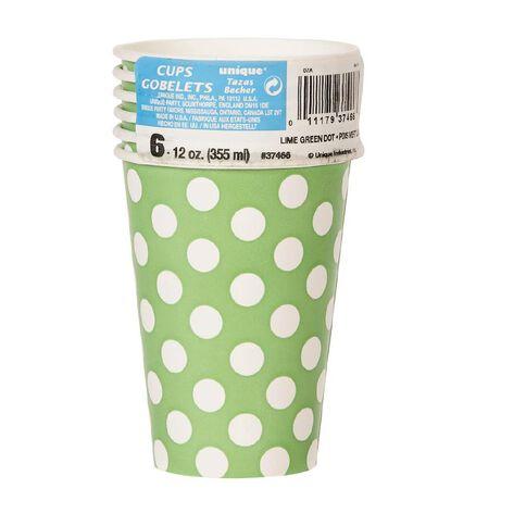 Unique Cups Dots Lime 12oz 6 Pack