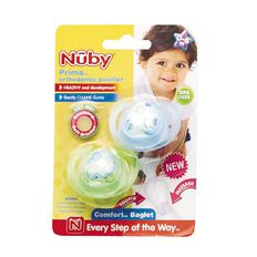 Nuby Prima Orthodontic Pacifier 0-6 Months 2 Pack Assorted Colours