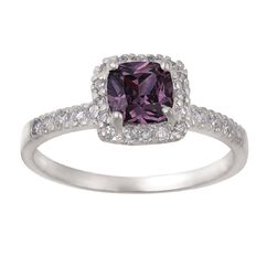 Sterling Silver CZ Purple Square Cluster Ring
