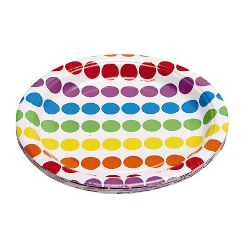 Unique Rainbow Birthday Party Plates 17cm 8 Pack