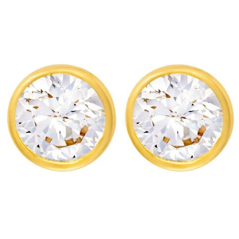 9ct Gold CZ Bezel Earrings 6mm