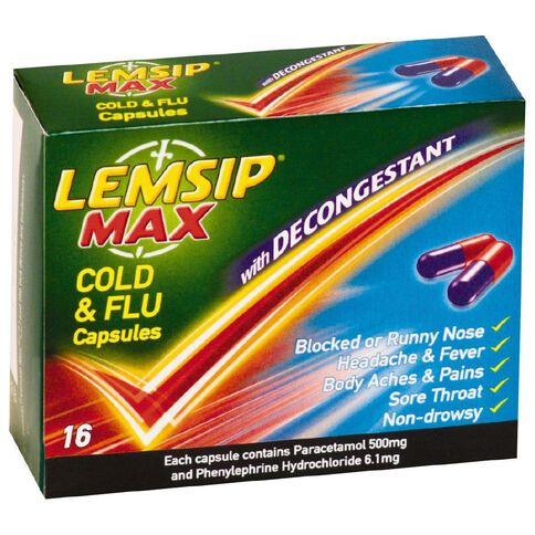Lemsip Cold & Flu with Decongestant Capsules 16s-LIMIT OF 1 PER CUSTOMER