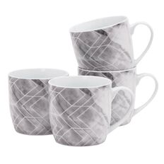 Living & Co Mugs Marble Grey 4 Pack