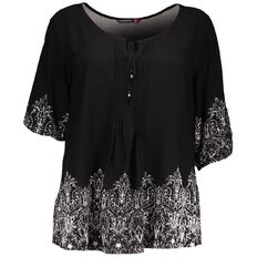 Kate Madison Tie Front Printed Top