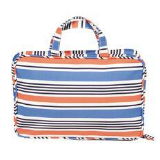 Toiletry Bag Hanging Organiser Stripe Blue/Coral