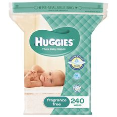 Huggies Wipes Jumbo Unscented 240 Pack