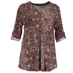 Kate Madison 3/4 Sleeve Printed Knit Shirt