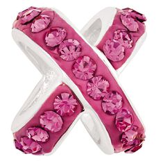 Ane Si Dora Sterling Silver Cross Over Pink Crystal Charm