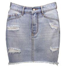 Garage Distressed Denim Skirt