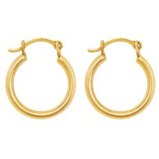 9ct Gold  Round Small Plain Hoop Earrings