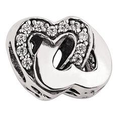 Ane Si Dora Sterling Silver CZ Double Heart Charm