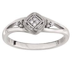 Sterling Silver Diamond Square Filigree Ring