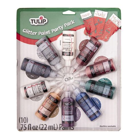 Tulip Fabric Paint Glitter Party 22ml 10 Pack